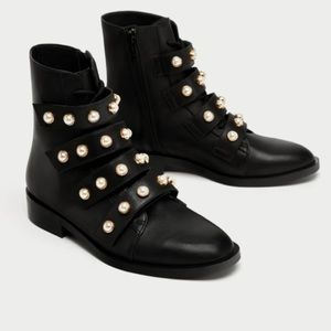Zara Black Leather Pearl Moto Booties, Sz 37